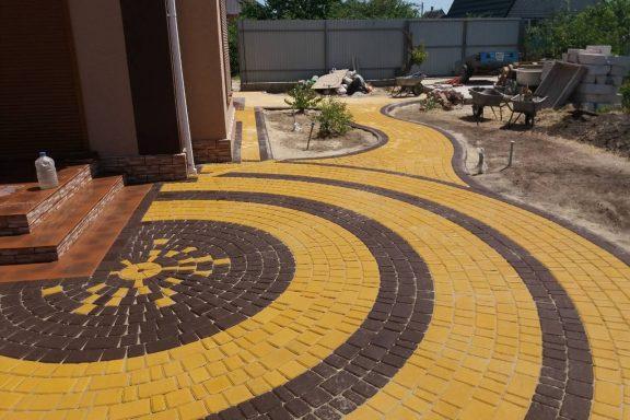 Круговые узоры тротуарной плитки